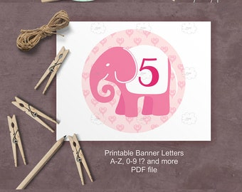 pink elephant bunting - whole alphabet and numbers for girl babyshower custom banner - printable banner letters nursery decor