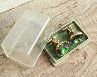 old Cufflinks in box / Vintage cuff links with a red stone at the center / vintage retro jewelry Cuff Links