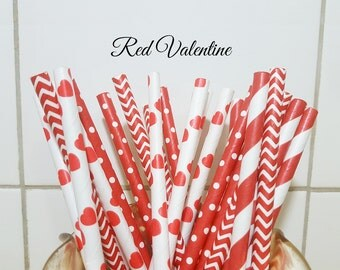 Paper Straws, Party Straws, Red Heart Paper Straws, Party Supplies, Wedding Supplies, Stripe Straws, Decor Paper Straws, Love Paper Straws