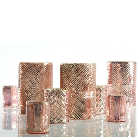 Rose Gold Mercury Glass Candle Holders Blush Votive Holders