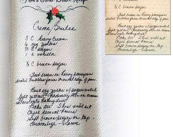 Recipe Tea Towel - Recipe Handwritten on Towel - Custom Handwriting - Remembrance Gift - Handwritten Recipe