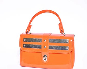 Vintage Orange Patent Leather 1960's Mini Handbag with Metal Mirror Design