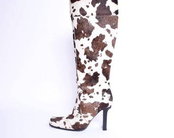 Vintage 90's Cowhide Tall Boots/ Pony Hair Boots / High Heel Fur Boots