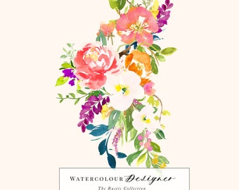 Watercolour Designer - The Rustic Collection - Hand Painted Watercolour Clip Art