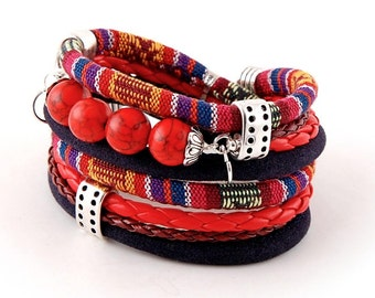 stylish wrapped bracelet with howlite, comfortable cuff,boho,navy blue, red