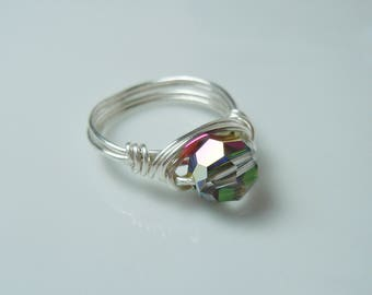 Wire Wrapped Ring with Vitrail Medium Swarovski Crystal 8mm Bead