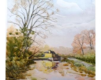"Landscape original watercolor ""L'écluse de Bruz, Brittany"" painting countryside Brittany decor france wall french art bretagne art"