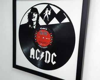 AC/DC Wall Art -Vinyl LP Record Clock or Framed Vinyl-Great Rock'n'Roll Gift ,Vinyl Wall Clock,Wall records clock