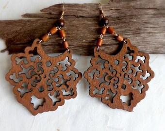 Dark brown wood earrings , Laser cut oriental jewelry , Tribal earrings gift for her , Boho wooden earrings