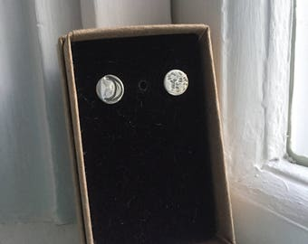 Crescent Moon and Full Moon Sterling Stud Earrings Sterling