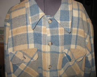 Mens LG vtg Eddie Bauer Aqua Beige Check Wool Shirt Jacket / 70s USA CPO type jacket free ship awesome woodland vtg 70s
