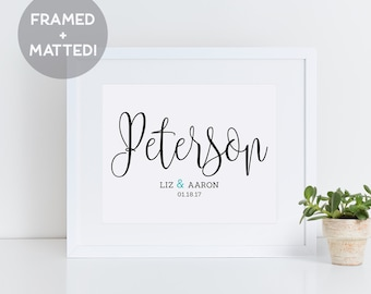 Custom Wedding Gift for the Couple, Gift for Her, Black and White Print, Last Name Sign, Wedding Sign, Home Decor, New Home Gift