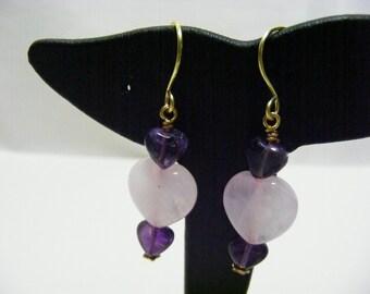 Rose Quartz and Amethyst Earrings