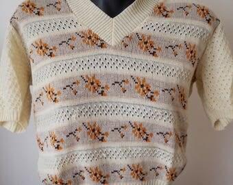 70's beige floral knit top M
