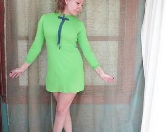 1960s Lime Green Mini Dress Twiggy Flower Power 60s Shift Dress Electric Green Micro Mini Dress Bow Dress 60s Micro Dress Bobbie Brooks