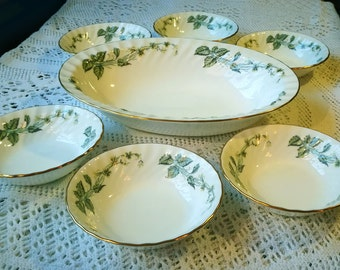 Minton China bowl dessert set, Rare Greenwich pattern, 6 dessert bowls, 1 large serving dish, Vintage minton china, English bone China