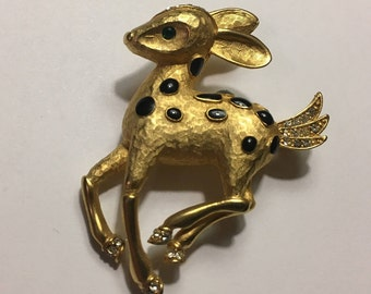 Gold Colored Fawn Brooch