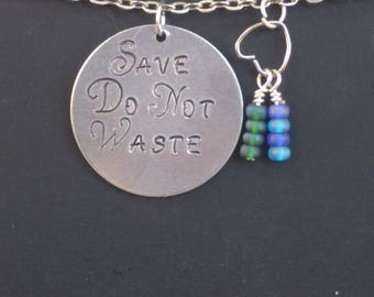 Save the Planet - Do Not Waste - Earth Day Pendant - March for Science - Environment Friendly - Recycle Keychain - Gift for Her