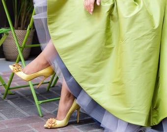 Alice+Sophia mix Skirt -2 skirts in one- Green and Navy Ultra Versatile Voluminous Full Ball Gown Skirts