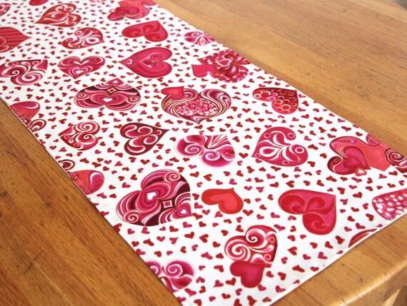 Valentine Hearts Happy Birthday Table Runner