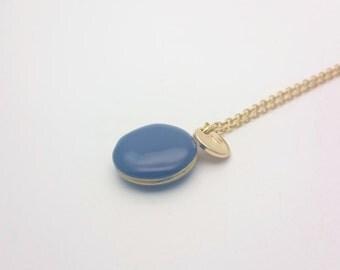 Personalized Blue Enamel Round Small Photo Locket Necklace gold steel chain//Custom Monogram Locket//Initial Photo Locket hypoallergenic