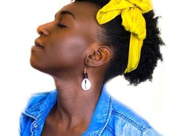 Serewa Earrings. African Cowries and Natural Wood Earrings. African Art. Handmade Jewelry. Wood Earrings. Nickel Free.