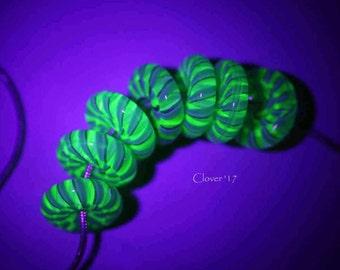 S245 - UV Reactive Nautilus Disc bead set - boro glass, white, teal, dark teal shimmer, green UV