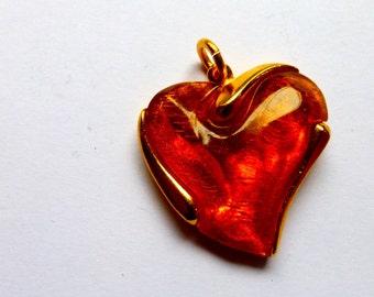 French Vintage 1980s  Retro Heart Pendant