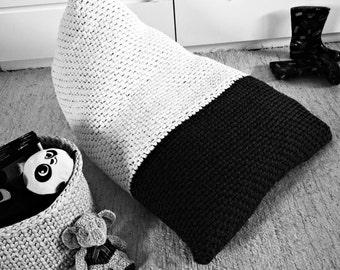 Chunky Knit Bean Bag-Large Floor Cushion-Black & White Bean Bag Chair-Kids Furniture-Nursery Decor-Adult Bean Bag Chair-Giant Floor Pillow