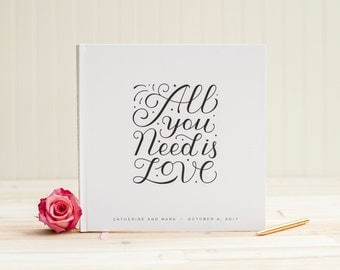 Wedding Guest Book wedding album guestbook personalized wedding photo album All You Need is Love wedding planner instant photo guest book
