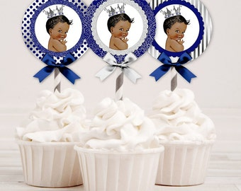 Cupcake Topper 2 Inch Circles | Royal Blue & Silver | African American Little Prince | Digital Instant Download