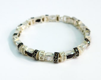 Vintage Sterling Silver Bracelet - Marcasite, Black and White Rhinestone Beads & Spacers
