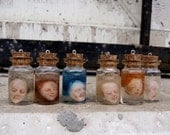 Miniature head in a jar. Ooak souvenir or funny pendant.Polymer clay, transparent resin. Price for one
