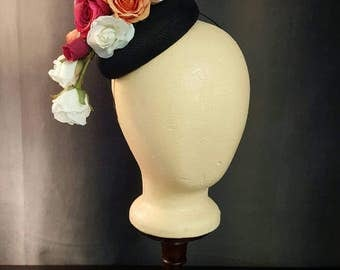 Black Button Fascinator with Roses
