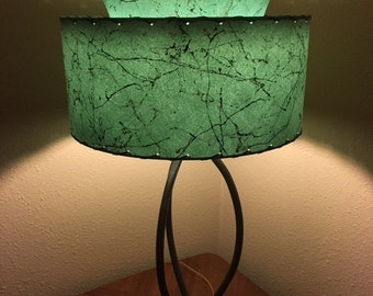 mid century vintage style tapered 2 tier fiberglass lamp shade modern atomic alpine green