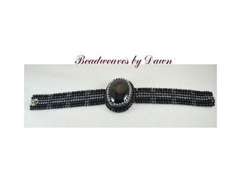 Bead Embroidered Cuff, bead embroidery, cuff bracelet, beaded Cuff, Herringbon bracelet, statement cuff, beaded jewelry, black onyx cabochon