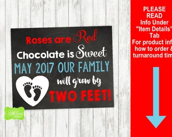 Valentine's Day Pregnancy Announcement Sign - Printable Pregnancy Announcement Sign - Digital Chalkboard Sign - Heart Pregnancy Sign