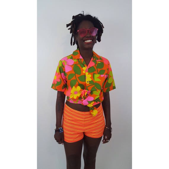 90's Vintage Neon Orange Yellow Striped Women's Swim Shorts - Bright Summer Swim Board Shorts - Vtg 80's Stripe High Waisted Shorts Small