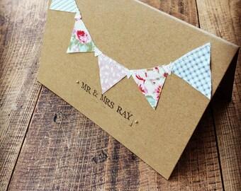 Handmade 'Mr & Mrs' card, Bunting Wedding Card, Rustic Card