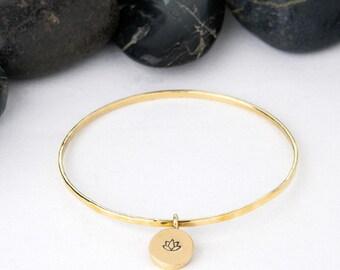 Lotus Flower, Bangle Bracelet, Charm Bracelet, Lotus Bracelet, Stackable Bracelet, Flower, Yoga Jewelry, Lotus Bangle, Yoga, Lotus, b251b