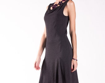 Cowl Neck Sleeveless Tango Dress with Godet Back