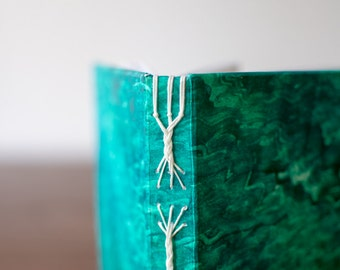 Braided Spine Notebook in Metallic Blue Green with White Linen Thread