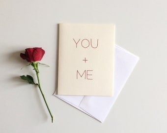 You + Me | Minimalist Red Text Love/ Anniversary/ Valentine's Day Card | Blank Inside
