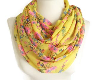 Spring Scarf, Yellow Scarf, Floral Scarf, Infinity Scarf, Flower Pink Scarf, Circle Scarf Loop Scarf, Women Scarf, Fashion Accessories