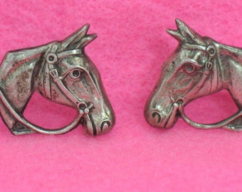 Horse Earrings Sterling Silver Horse Heads Screw Back Equestrian Jewelry 1940s