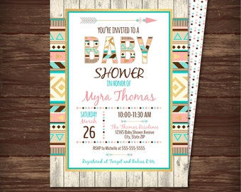 Tribal Baby Shower Invitation, Aztec Baby Shower Invitation, Baby Shower Invitation, INSTANT DOWNLOAD - Edit at home with Adobe Reader NOW!