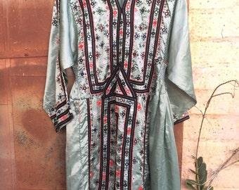 Vintage Afghani Baluch Sage Green Tunic Dress
