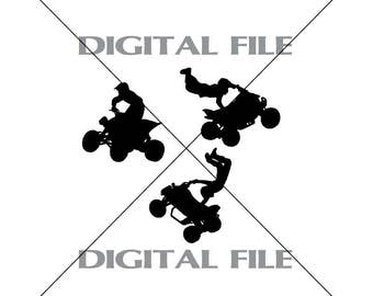 Three 4 Wheeler Riders Vector Images Vinyl Decal T-shirt Digital Cutting Files ,Svg File, Ai, Eps, PNG, A2
