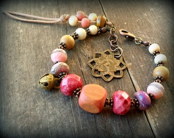 Brass lotus charm bracelet, leather boho tassel bracelet, beach wedding jewelry, mixed gemstone bracelet peachy keen apricot girly girl gift