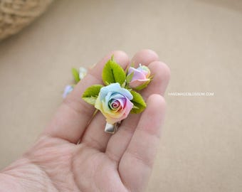 Rainbow roses hairpin, pastel rainbow rose hair clip, polymer clay rainbow roses, fimo flowers, rainbow rose hair accessories,